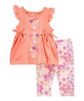 a0aad177b86756 Nannette Kids   Coral Heart Angel-Sleeve Top & Pink Floral Leggings -…