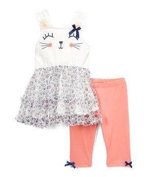 6d1b34ab2e3dac Nannette Kids | Off White Cat Sleeveless Tunic & Coral Bow-Accent Sho…