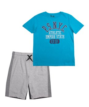 d09ff2bb Blue Crewneck Tee & Gray Athletic Shorts - Boys
