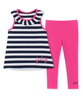 8a6ccc15c Juicy Couture | Navy & White Stripe Sleeveless Top & Pink Leggings Se…