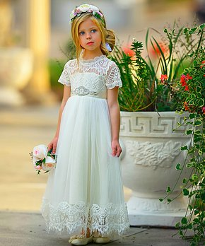 32c66e8a45f41 Think Pink Bows | Ivory Antonella Dress - Infant, Toddler & Girls