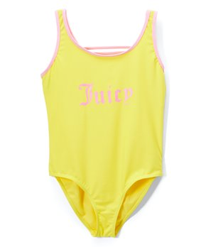 88b46ef5f98 Juicy Couture | Yellow & Pink 'Juicy' One-Piece - Girls