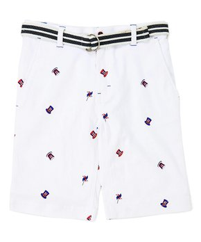 0c0c8135a66e only 1 left. DCBD | White Americana Shorts & Belt - Boys