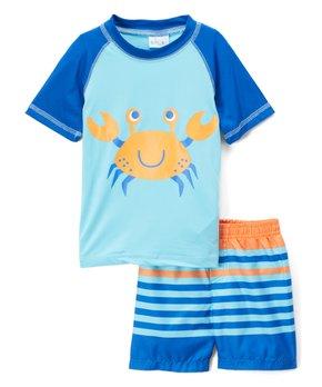 628d69ba93 Sweet & Soft | Blue & Orange Crab Rashguard & Stripe Swim Shorts - In…