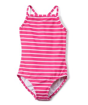 dd30bc22390 Hanna Andersson | Pink Flower Stripe Sunblock One-Piece Swimsuit - To…