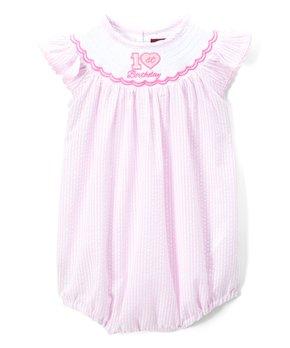 5e691bec691 Pink   White Stripe  Birthday  Smocked Romper - Infant