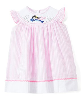c03e631dafb736 Lil Cactus   Pink Stripe Mermaid Smocked Angel-Sleeve Dress - Infant,…