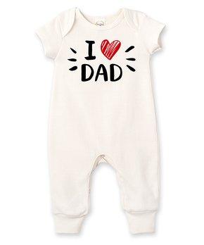 c181f58a Tesa Babe | Ivory 'I Love Dad' Short-Sleeve Romper - Newborn & Infant
