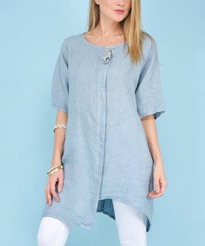 a7a71afb63e 100% LIN BLANC   Blue Grommet Morelia Linen Tunic - Women