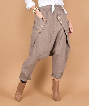 677862d62bfe44 100% LIN BLANC | Gray Layered Button-Accent Linen Harem Pants - Women…