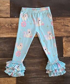 f9637a5d69c90 Ava Grace Boutique   Blue & Pink Unicorn Donut Ruffle-Hem Leggings - …