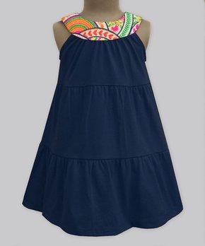 830fc9c55 A.T.U.N.   Navy & Orange Scallop Flora Yoke Dress - Girls