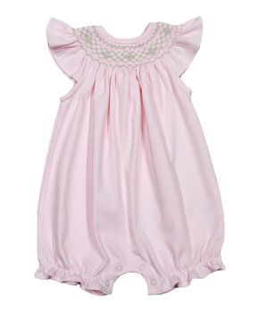 d9068df08676 Hug Me First | Pink & Green Smocked Pima Cotton Angel-Sleeve Bubble R…