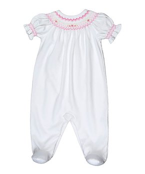 c2b7d5848f1d Hug Me First | White Rose Smocked Pima Footie - Newborn & Infant