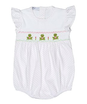 9f411525f0c6 Hug Me First | Pink Frog Smocked Pima Bubble Bodysuit - Newborn & Inf…