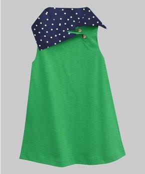 efcc380d5d1b0 A.T.U.N. | Green & Navy Polka Dot Asymmetrical Heidi Dress - Infant, …