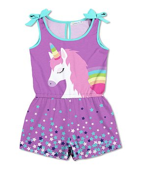 a1a88c71fd9c Sunshine Swing | Orchid & Turquoise Unicorn Star Bow-Sleeve Romper - …