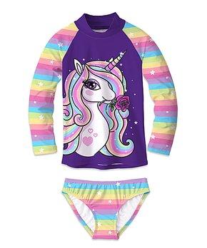 f2df1dd5b6f3 Purple & Rainbow Stripe Star & Unicorn Rashguard Set - Girls