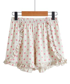 65859c612ef70 Trend Blossoms | Cream & Pink Polka Dot Ruffle Shorts - Girls