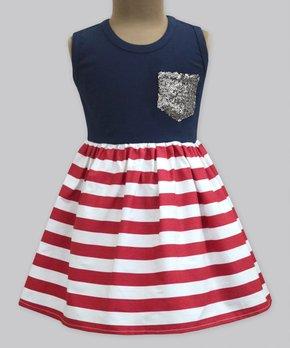 15edc8d7c334 Navy & Red Stripe Sequin-Pocket Ana A-Line Dress - Girls