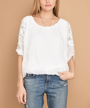 6567a4f5ca65c2 Vertigo | White Floral Embroidered Lace Top - Women