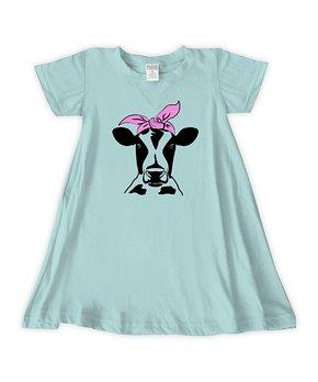 7b4aca34c2245 Urban Smalls | Light Aqua Bandana Cow T-Shirt Dress - Toddler & Girls