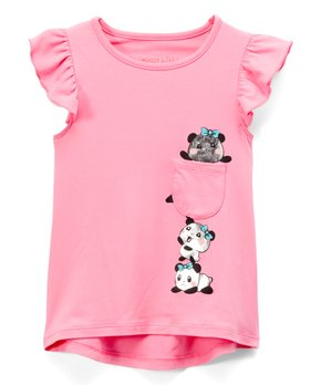 4dfc64d71dbfe Colette Lilly   Pink Shine Panda Pocket Angel-Sleeve Tee - Toddler & …