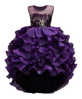 fbe62db69e81 Mia Belle Girls | Purple & Gold Embroidered Ruffle Sleeveless Dress -…