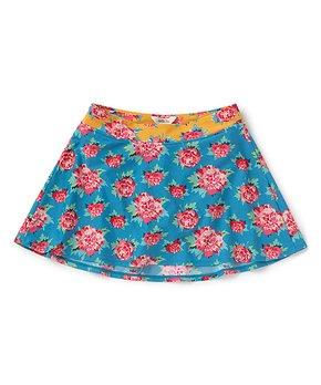 ed3eac6806 Matilda Jane Clothing   Blue & Red Roses Turn-the-Tide Skirted Bikini…