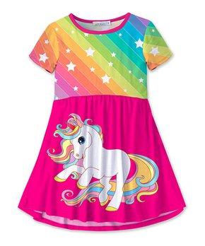 ba86dd201e68 Fuchsia   Rainbow Stripe Star   Unicorn A-Line Dress - Girls