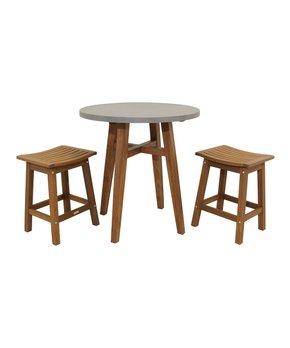 Outdoor Interiors Composite Outdoor Table Eucalyptus Wood Outdoor