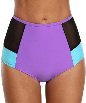 ff96284f0a Zesica | Purple & Blue Color Block Mesh-Accent High-Waist Bikini Bott…