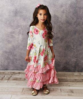 d4478875343 Oopsie Daisy | Purple & Pink Floral Ruffle Maxi Dress - Girls