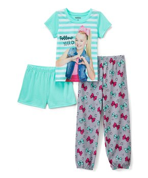 fdd35d285 AME | JoJo Siwa Teal & Gray Pajama Set - Girls