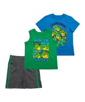 9329d89ee Children's Apparel Network   TMNT Blue & Charcoal 'Cowabunga' Shorts …