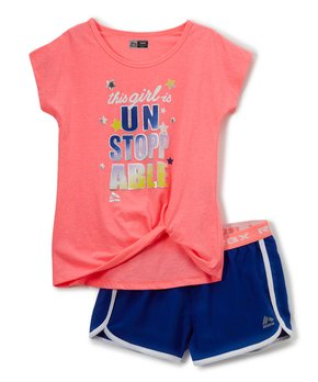 a17203dd593bf RBX | Heather Coral & Blue 'Unstoppable' Scoop Neck Top & Shorts - To…