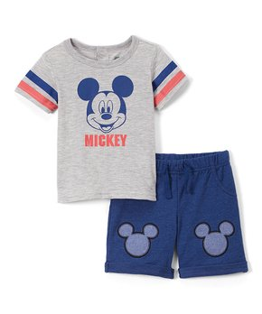 cca0ec30 Children's Apparel Network | Mickey Mouse Gray 'Mickey' Tee & Shorts …