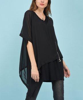 c153b6605e61 La Fille du Couturier   Black Asymmetric Sidetail Top - Women