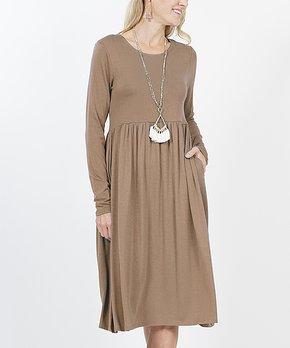 c88187d03f1 Mocha Long-Sleeve Shirred Empire-Waist Pocket Dress - Women