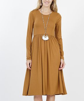 7430f2ab634 Coffee Long-Sleeve Shirred Empire-Waist Pocket Dress - Women   Plus