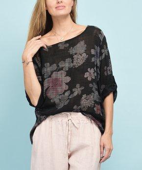 add8998a0d1f8a Rodier Paris | Black Floral Tab-Sleeve Linen Shift Top - Women