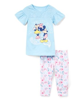 13d3dbe08 Minnie Mouse Blue 'Wild' Ruffle-Sleeve Tee & White Capri Leggings - I…