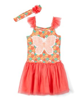 47a3b026 New Chic   Coral Butterfly & Flowers Tulle-Skirt Sleeveless Dress & H…