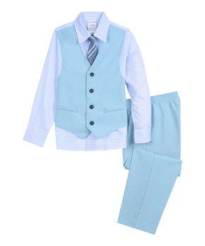 15a82b6c75d5bf Van Heusen | Blue Pearl & Teal Heather Poplin Vest Set - Boys