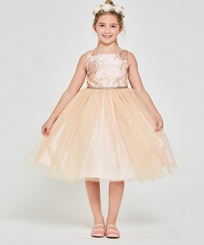 10899cae1f1a Good Girl | Blush Pink Floral-Embroidered Rhinestone-Belt A-Line Dres…