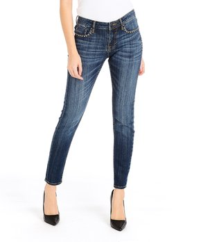 1ce7811aaa4a0 Vigoss | Dark Wash Studded Skinny Jeans - Women & Plus