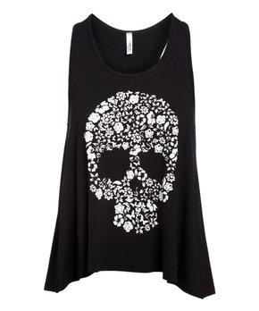 8ad9339f Magic Fit | Black Floral Skull Racerback Tank - Women