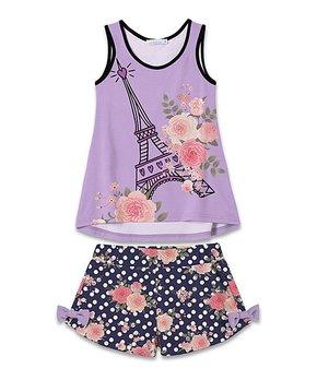 3bf49801040d Sunshine Swing | Lavender Floral Eiffel Tower Tank & Navy Polka Dot B…