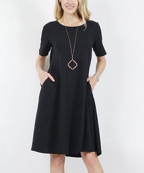 96e5477a9a731 Lydiane | Black Crewneck Short-Sleeve Pocket Shift Dress - Women