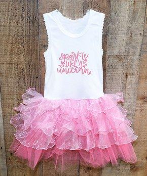 cfcebaac4 White & Pink 'Sparkle Like a Unicorn' Sleeveless Tutu Dress - Girls